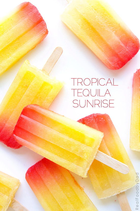 Tropical Tequila Sunrise Popsicles from Real Food by Dad