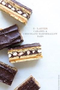 3-Layer Caramel and Chocolate-Marshamllow Bars via Real Food by Dad