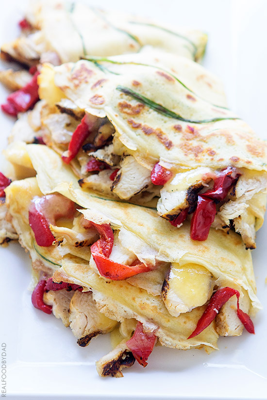 Grilled Chicken and Roasted Red Pepper Crepe Quesadilla from Real Food by Dad
