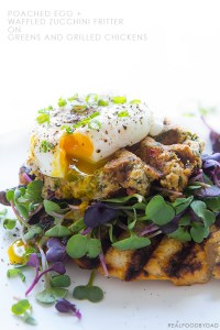 Waffled Zucchini Fritter with Poached Egg and Grilled Chicken   Real Food by Dad