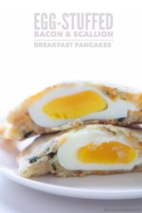 Egg Stuffed Bacon & Scallion Breakfast Pancakes via Real Food by Dad