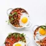 Shredded Chicken and Baked Eggs via Real Food by Dad