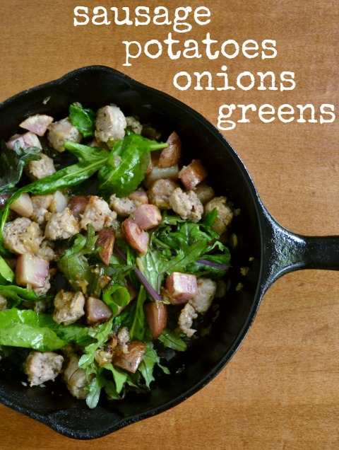 This hearty dinner of sausage, potatoes, onions, and greens is a delicious, healthy, one-pot meal. This is a great way to use farmers' market vegetables.