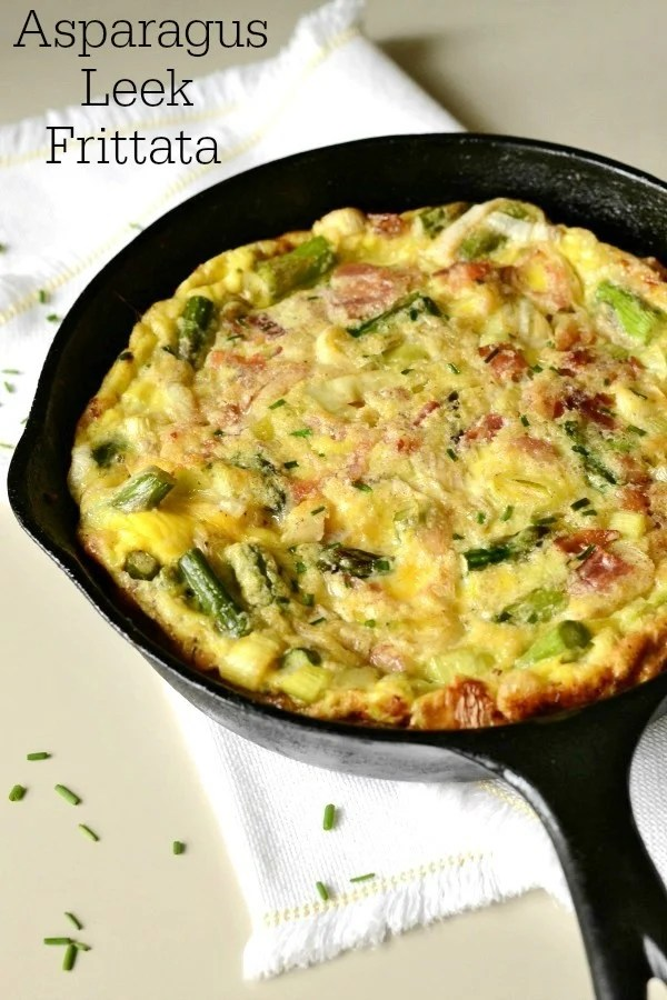 This Asparagus Leek Frittata is a delicious celebration of spring vegetables. Great recipe for breakfast, lunch, or dinner!