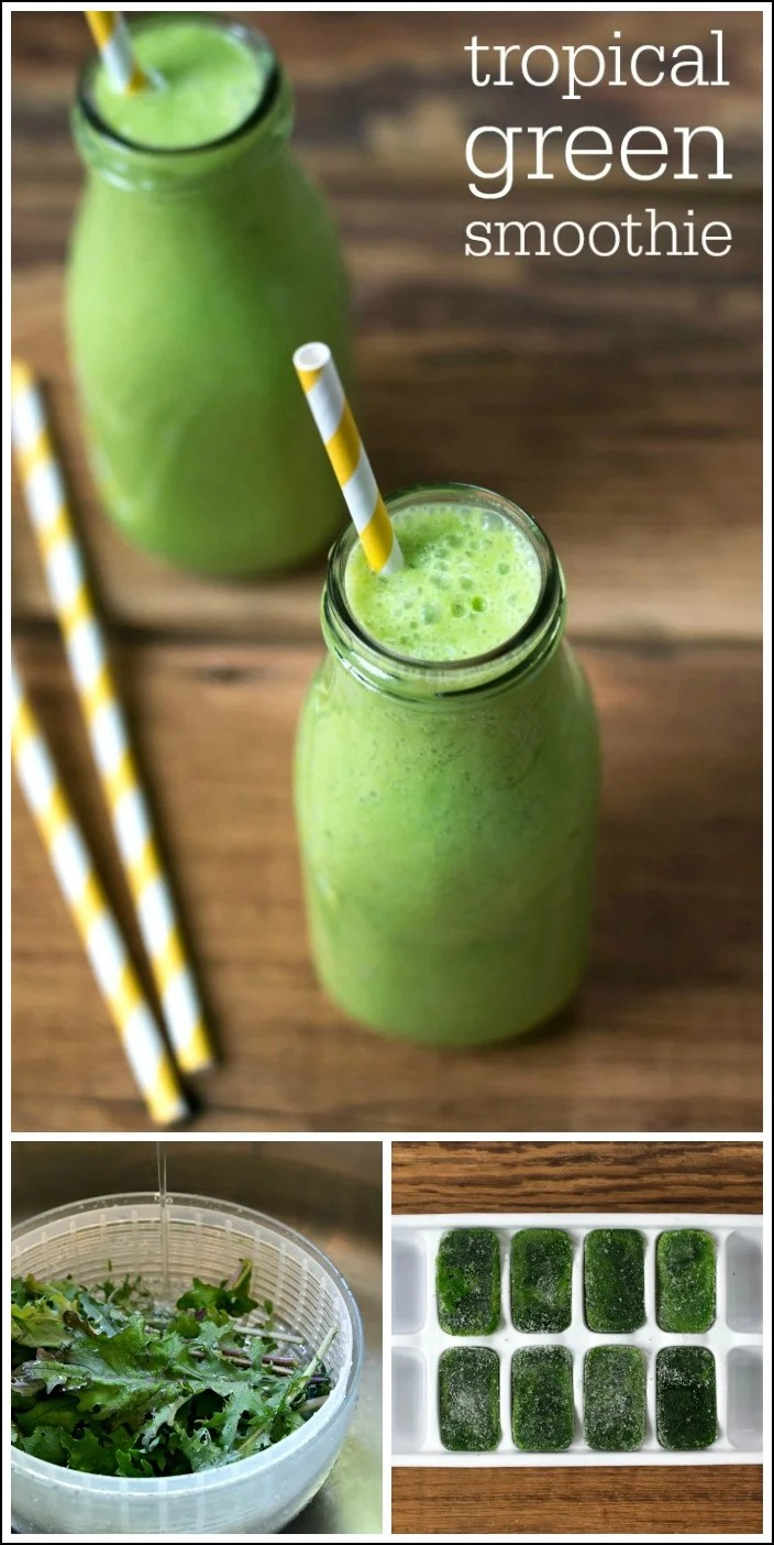This tropical green smoothie is a healthy detox drink that tastes like vacation. The delicious combination of flavors makes a great snack.