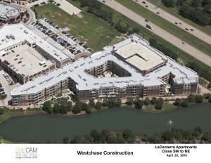 Aerial view of new Fein multifamily in LaCenterra at Cinco Ranch, a mixed-use project by Vista Cos.