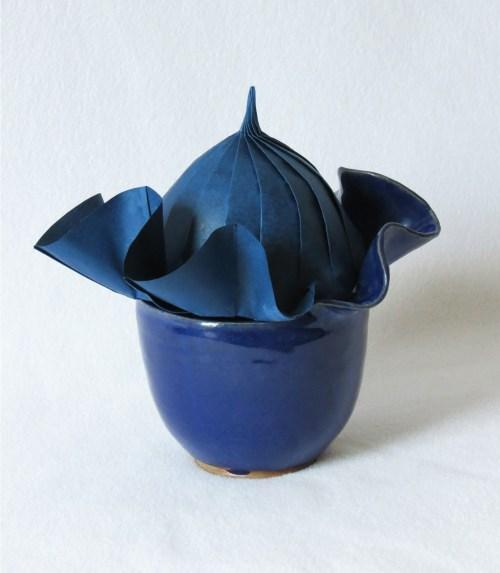 Origami/ceramic wavy vessel