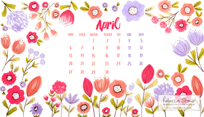 Free April Desktop Calendar by Rebecca Stoner www.rebeccastoner.co.uk