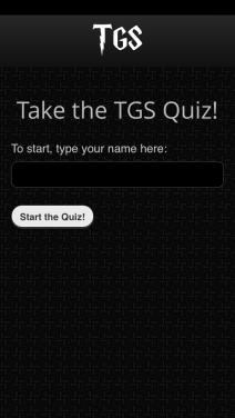 Opening quiz screen