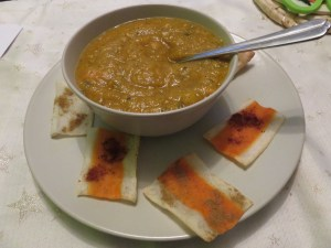Chips de surimi et soupe