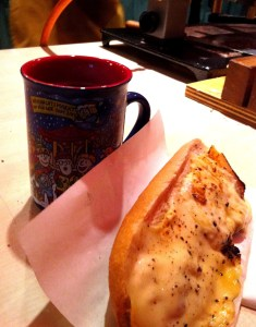 Glühwein and a raclette baguette