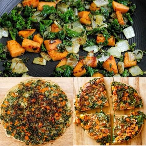 Kale, Butternut Squash, and Onion Frittata