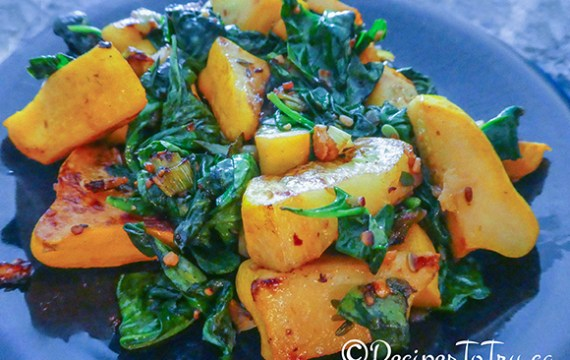 Pan-Seared Baby Patty Pan Squash With Sautéed Spinach