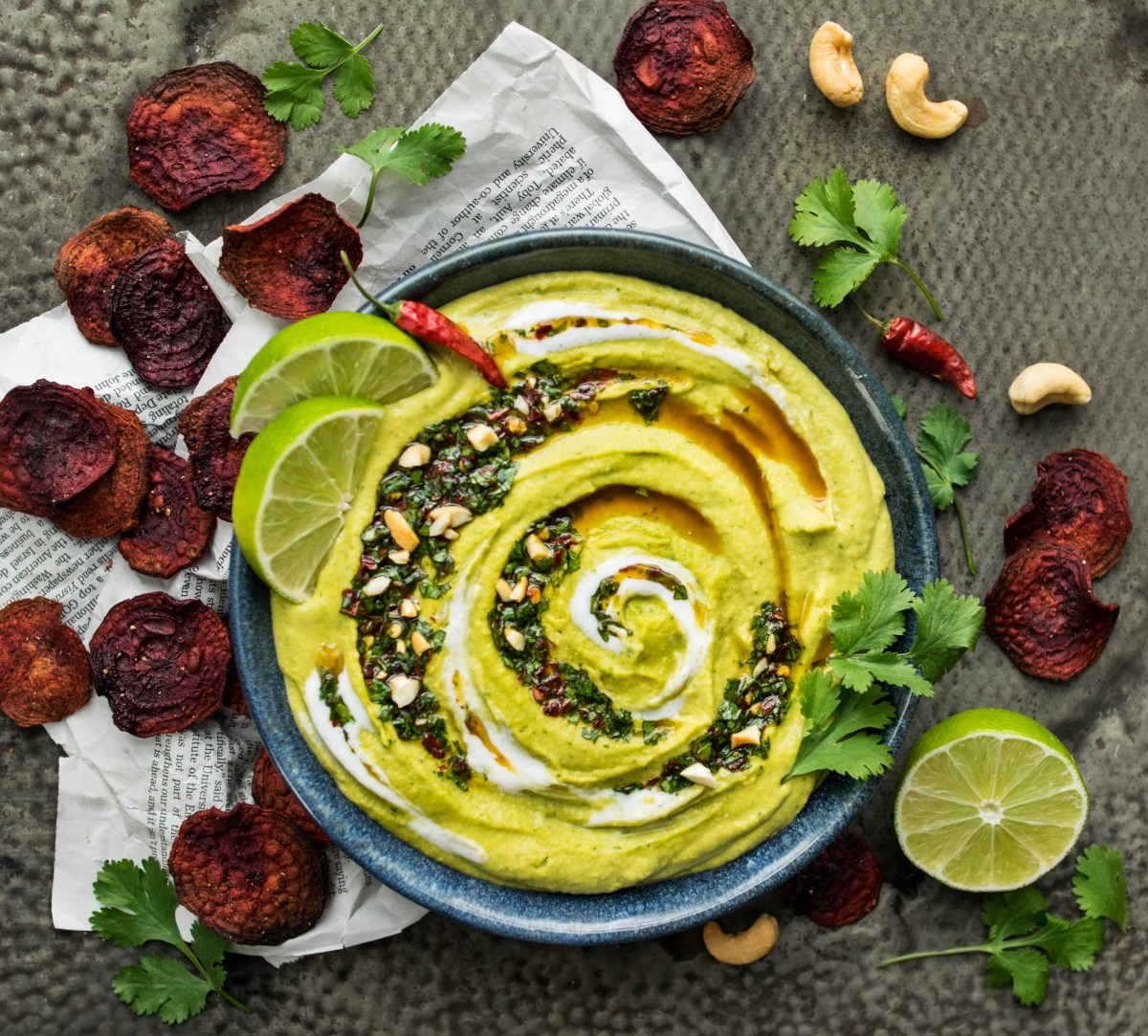 Coconut Green Curry Hummus with Baked Beet Chips
