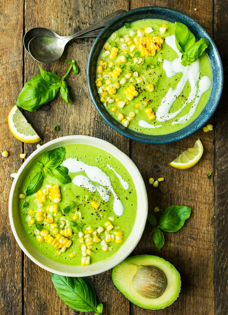 Chilled Cucumber Avocado Soup with Grilled Corn | Reclaiming Yesterday