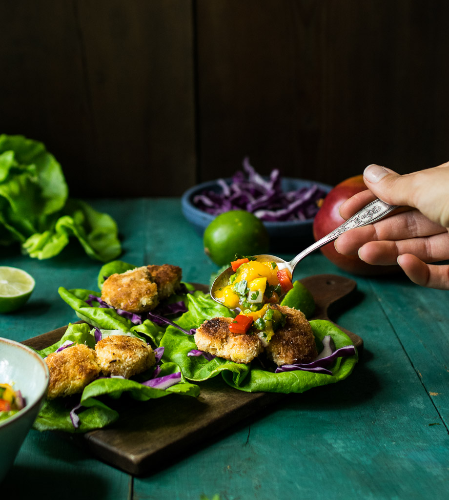 Coconut Crusted Chicken Lettuce Wraps with Mango Lime Salsa