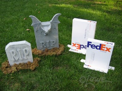 5 Months until Halloween-It's never too early to start upcycling those Used Fedex Boxes in Gravestones
