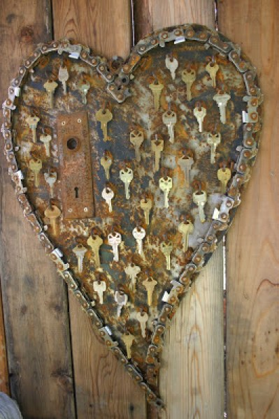 Garden Metal Art Heart Keys Collage