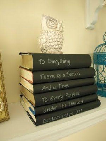 chalkboard paint on book spine art
