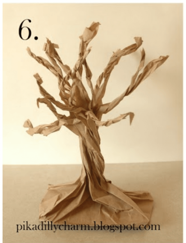 how to make a paper bag tree recycled crafts. Black Bedroom Furniture Sets. Home Design Ideas
