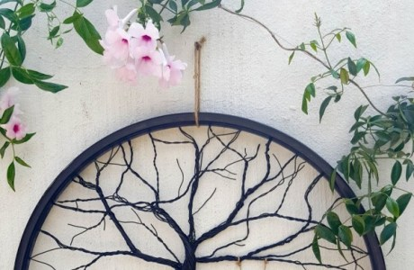 How to make tree art with a recycled bicycle rim