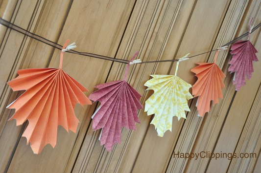 How to make folded paper fall leaves