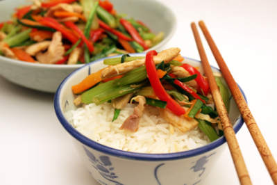 Stir-Fried Turkey Over Rice