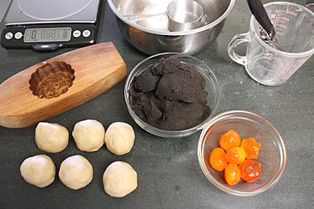 Ingredients for making Black Seasame Mooncake