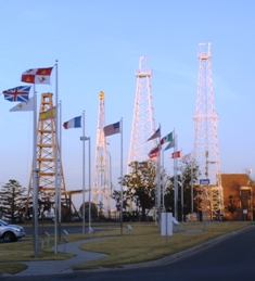 Oil Derricks and Flags