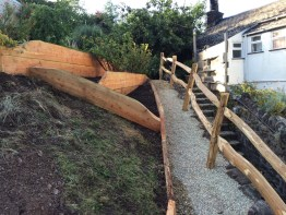 larch terracing boards and sweet chestnut fencing
