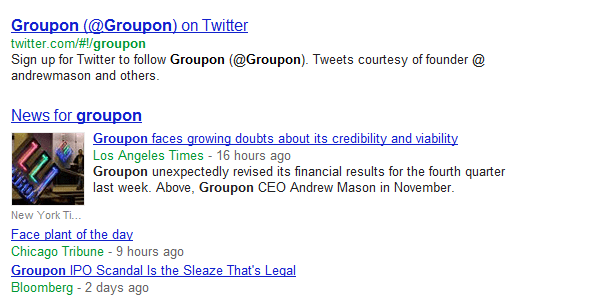 Google News algorithms put the Enron logo next to a story about Groupon