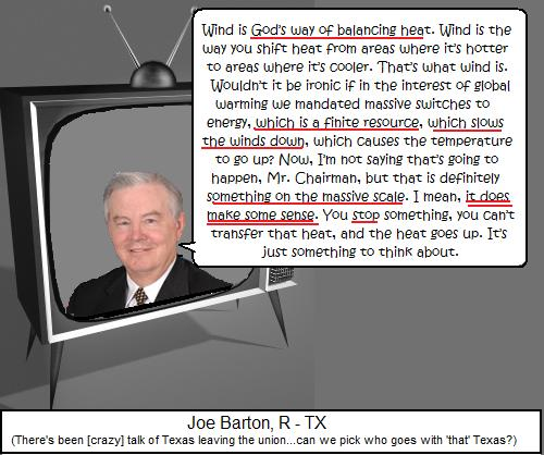 Mean Joe Green #59: GOP Congressman Claims Wind Turbines May Slow Down/Stop Wind!