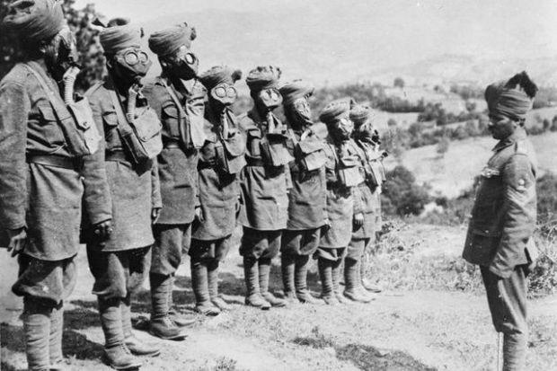 Tropas indias en el ejército británico durante la I Guerra Mundial.