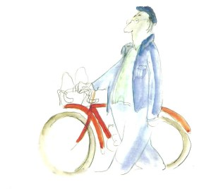 Cyclist with beret cartoon2