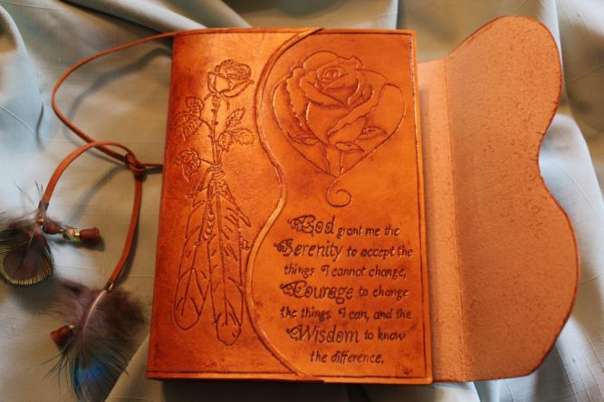 Inside the flap, I tooled a rose I actually drew!  First one that looks like a rose ;)  I also tooled the Serenity prayer onto it.