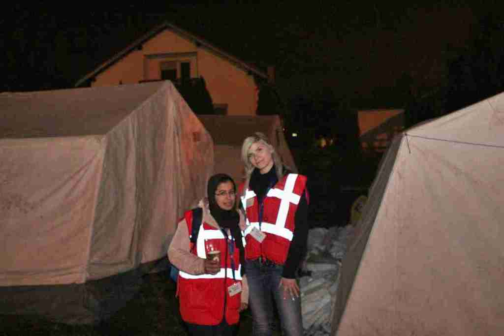 Volunteers at the station of Dobova, who manage our donated tents after our departure