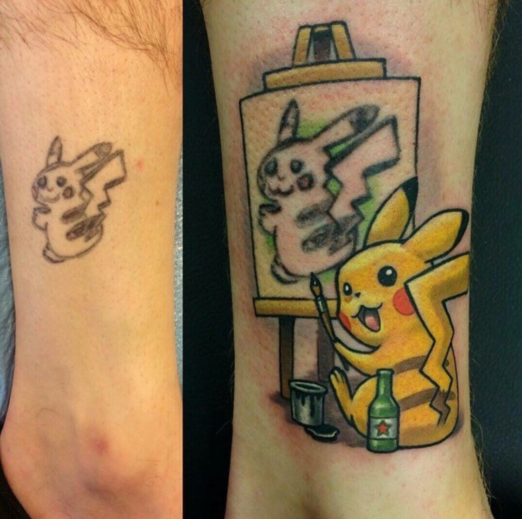 Ejemplo de cómo arreglar un tatuaje con la imagen de Pikachu