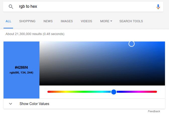 Convertidor RGB/Hex directamente en Google