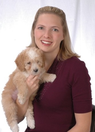 Amanda owner of Regal Doodles with Double Doodle Puppy