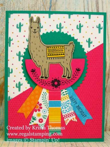 Birthday Fiesta llama card by Krista Thomas, www.regalstamping.com, all products by Stampin' Up!