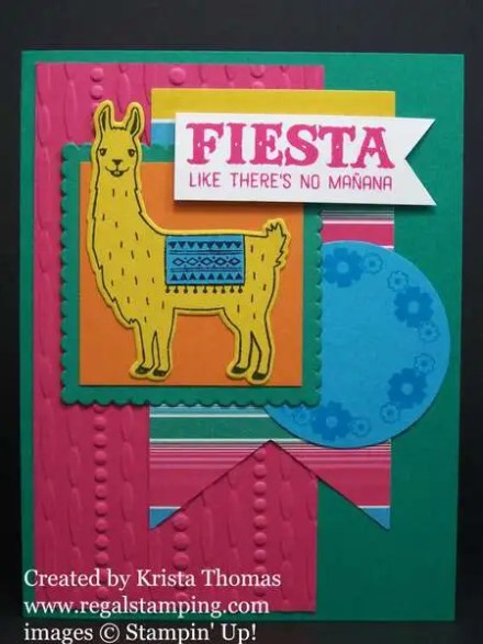 Birthday Fiesta with Fiesta Time Framelits by Stampin' Up! Created by Krista Thomas, www.regalstamping.com