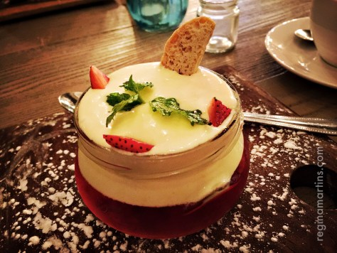 A new take on the humble jelly and custard at dinner with a good friend ©2016 Regina Martins
