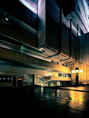 Beleuchtete Fassade des ICC Berlin