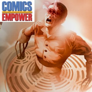 Comics Empower logo and a scene from Aurora - a man's eyes are burned as he arches his head toward the sky yell with arms stretched out.