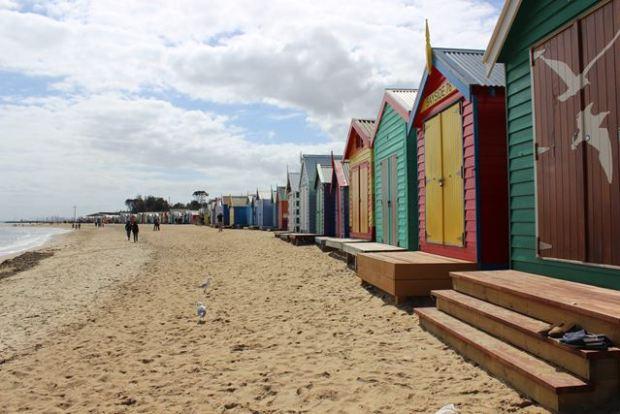 Kleine Häuser am Strand in St.Kilda