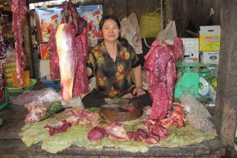 Kjøttmarkedet i Phnom Penh Foto: Reiselykke