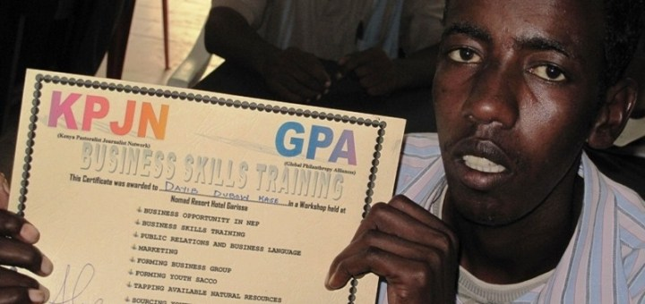 A member of Wathajir youth group displaying his business skill. [Photo: Abjata Khalif]