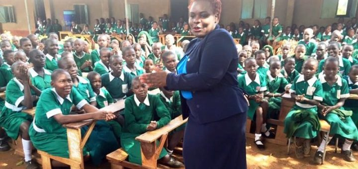 The First Lady of Busia county Mrs Judy Ojaamong joins Mundika Girls Primary School pupils where she went to share with them the importance of hygiene and self discipline. [Picture: Nyakwar Odawo]