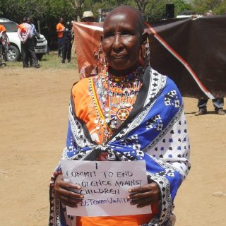 Woman shows support for campaign. Photo Joyce Chimbi