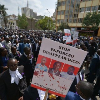 Activists and lawyers matching on the streets of Nairobi to demonstrate against the rising number of forced disappearances in Kenya.Picture:David Mbewa